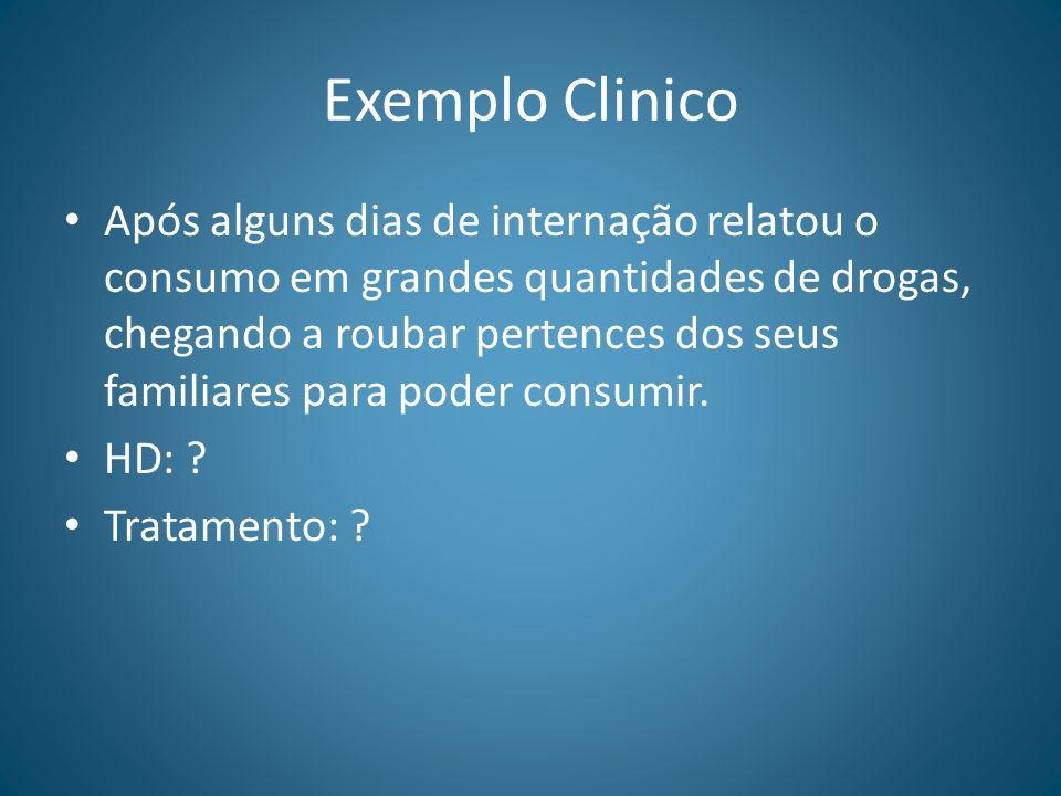Exemplo Clinico Após alguns dias de internação relatou o consumo em grandes quantidades de drogas, chegando a roubar pertences dos seus familiares par