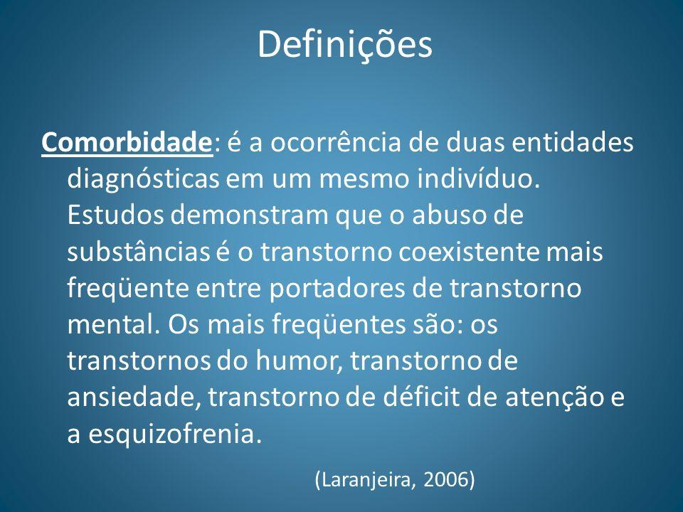 Definições Comorbidade: é a ocorrência de duas entidades diagnósticas em um mesmo indivíduo. Estudos demonstram que o abuso de substâncias é o transto