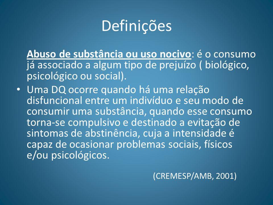 Definições Abuso de substância ou uso nocivo: é o consumo já associado a algum tipo de prejuízo ( biológico, psicológico ou social). Uma DQ ocorre qua