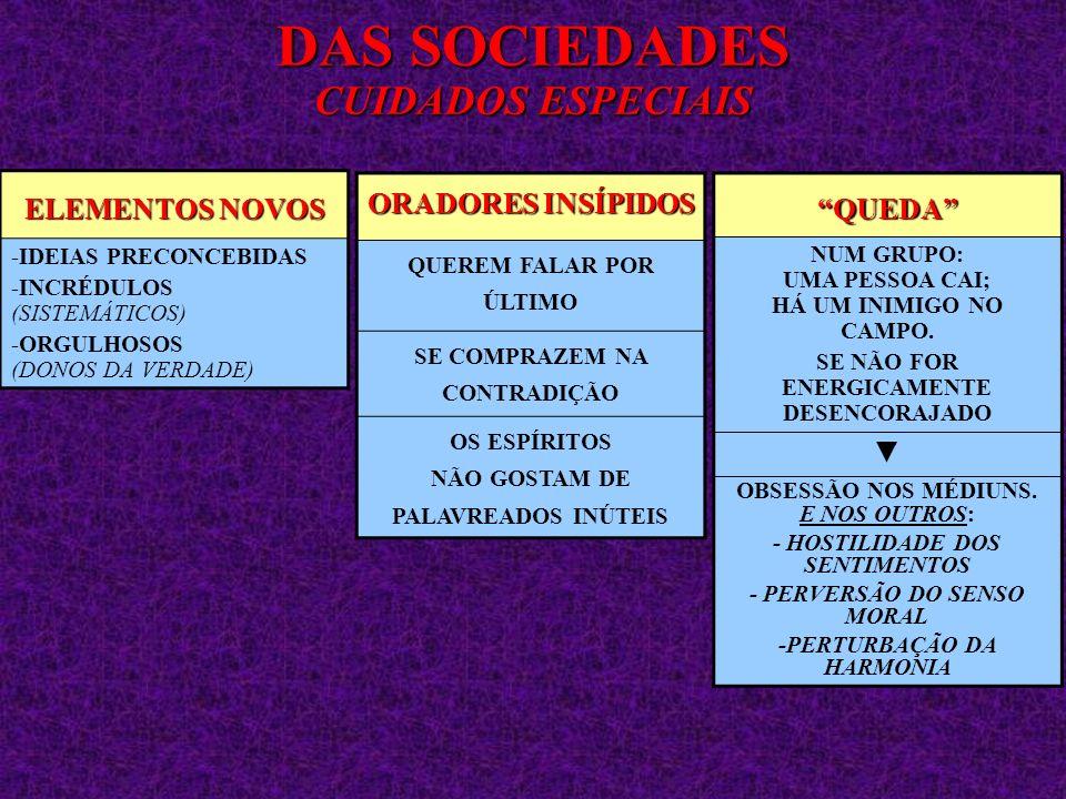 ELEMENTOS NOVOS -IDEIAS PRECONCEBIDAS -INCRÉDULOS (SISTEMÁTICOS) -ORGULHOSOS (DONOS DA VERDADE) DAS SOCIEDADES CUIDADOS ESPECIAIS ORADORES INSÍPIDOS Q