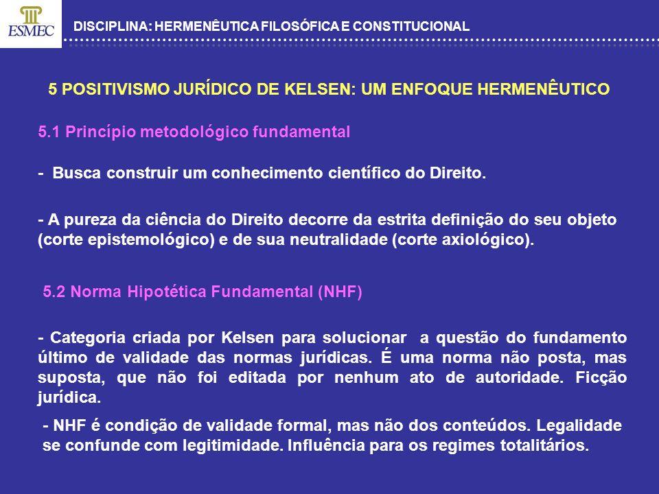 DISCIPLINA: HERMENÊUTICA FILOSÓFICA E CONSTITUCIONAL 5 POSITIVISMO JURÍDICO DE KELSEN: UM ENFOQUE HERMENÊUTICO 5.1 Princípio metodológico fundamental