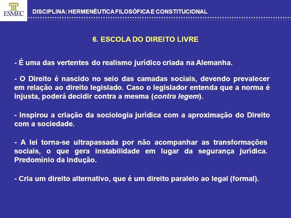 DISCIPLINA: HERMENÊUTICA FILOSÓFICA E CONSTITUCIONAL 6. ESCOLA DO DIREITO LIVRE - É uma das vertentes do realismo jurídico criada na Alemanha. - O Dir