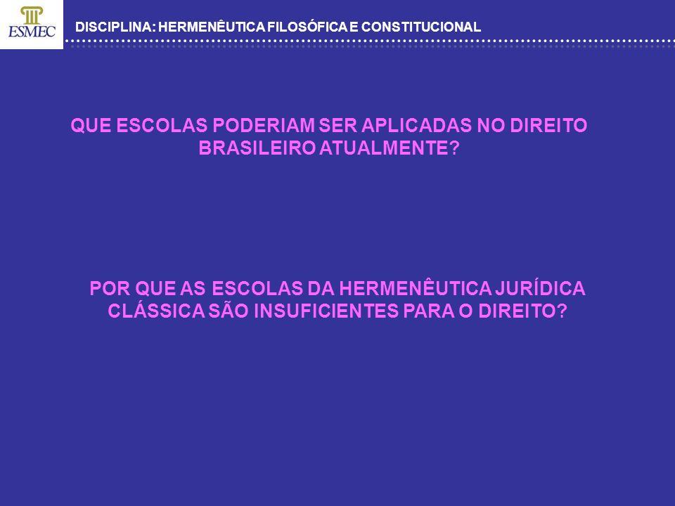DISCIPLINA: HERMENÊUTICA FILOSÓFICA E CONSTITUCIONAL QUE ESCOLAS PODERIAM SER APLICADAS NO DIREITO BRASILEIRO ATUALMENTE? POR QUE AS ESCOLAS DA HERMEN