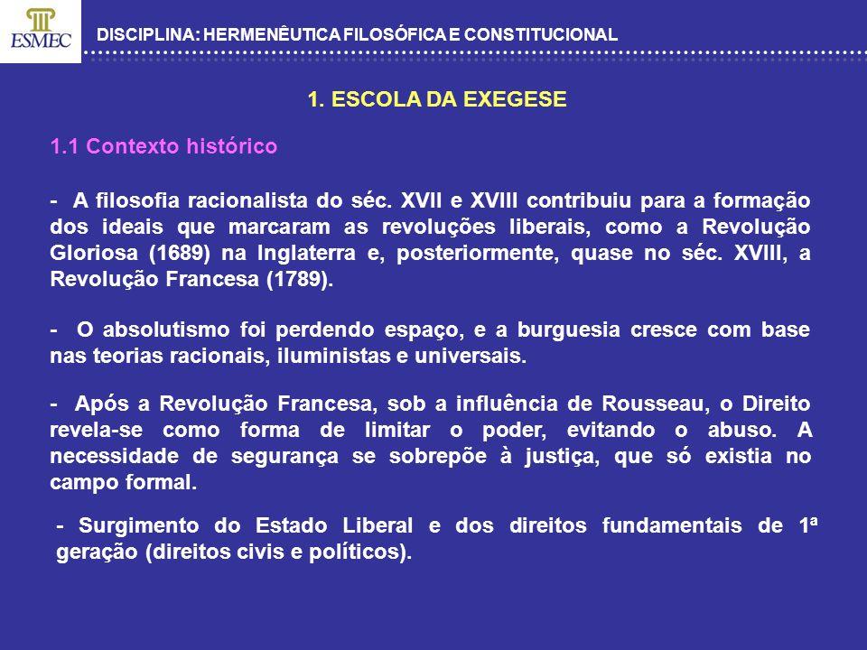 DISCIPLINA: HERMENÊUTICA FILOSÓFICA E CONSTITUCIONAL - A Escola da Exegese surge a partir do movimento doutrinário que estudou o Código de Napoleão.