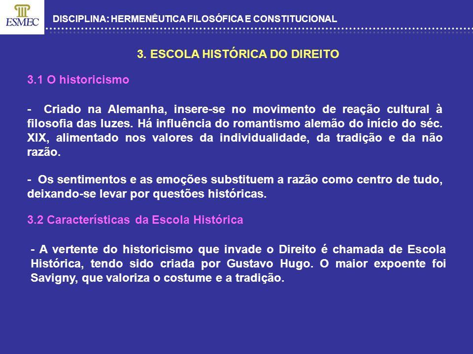 DISCIPLINA: HERMENÊUTICA FILOSÓFICA E CONSTITUCIONAL 3. ESCOLA HISTÓRICA DO DIREITO - Criado na Alemanha, insere-se no movimento de reação cultural à