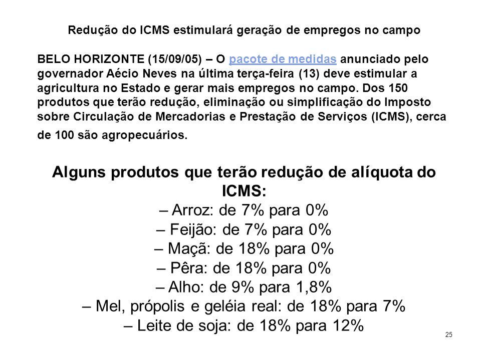 25 Redução do ICMS estimulará geração de empregos no campo BELO HORIZONTE (15/09/05) – O pacote de medidas anunciado pelo governador Aécio Neves na última terça-feira (13) deve estimular a agricultura no Estado e gerar mais empregos no campo.