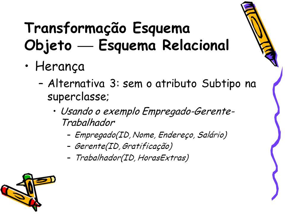Transformação Esquema Objeto Esquema Relacional Herança »Regras de Integridade Se ID = v em Empregado então ((ID = v em Gerente) (ID = v em Trabalhador)) ((ID = v em Trabalhador) (ID = v em Gerente)) ( (ID = v em Gerente) (ID = v em Trabalhador))