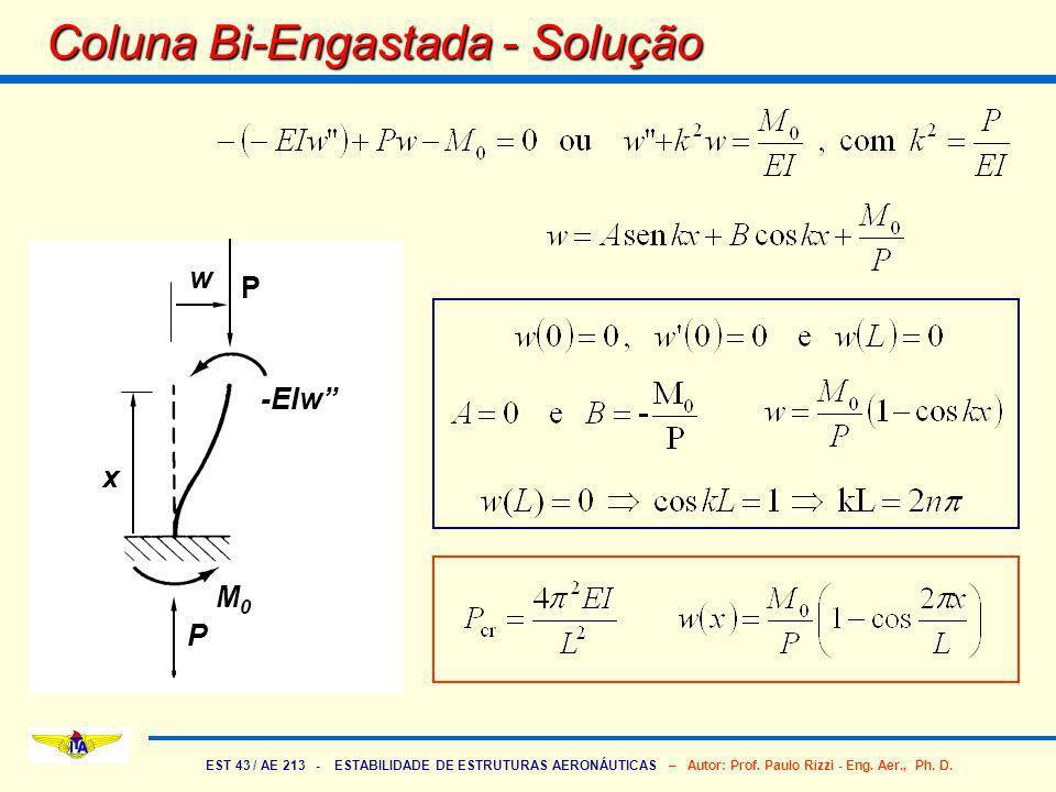 EST 43 / AE 213 - ESTABILIDADE DE ESTRUTURAS AERONÁUTICAS – Autor: Prof. Paulo Rizzi - Eng. Aer., Ph. D. Coluna Bi-Engastada - Solução P P M0M0 w x -E