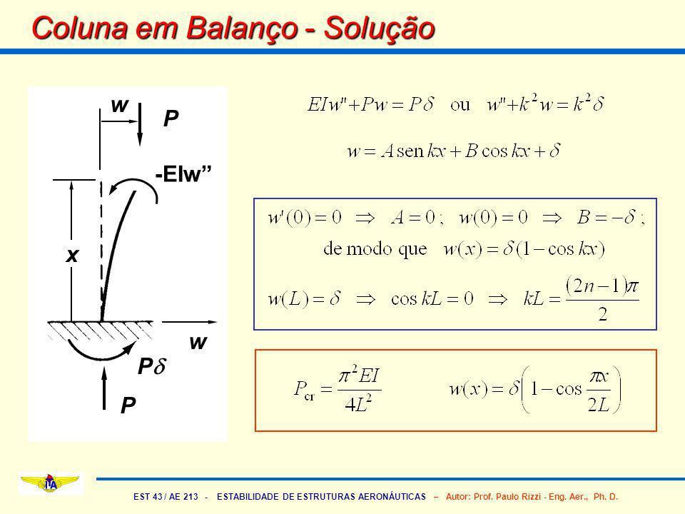 EST 43 / AE 213 - ESTABILIDADE DE ESTRUTURAS AERONÁUTICAS – Autor: Prof. Paulo Rizzi - Eng. Aer., Ph. D. Coluna em Balanço - Solução w P P P EIw x w -