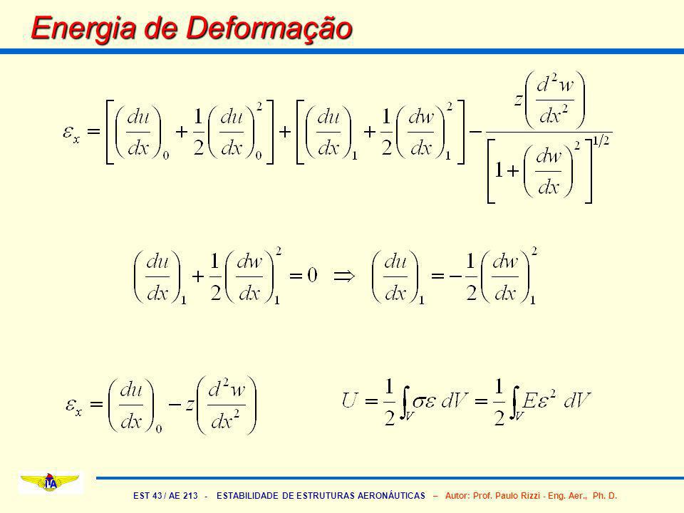 EST 43 / AE 213 - ESTABILIDADE DE ESTRUTURAS AERONÁUTICAS – Autor: Prof. Paulo Rizzi - Eng. Aer., Ph. D. Energia de Deformação