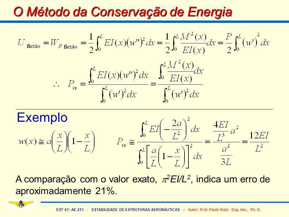 EST 43 / AE 213 - ESTABILIDADE DE ESTRUTURAS AERONÁUTICAS – Autor: Prof. Paulo Rizzi - Eng. Aer., Ph. D. O Método da Conservação de Energia Exemplo A