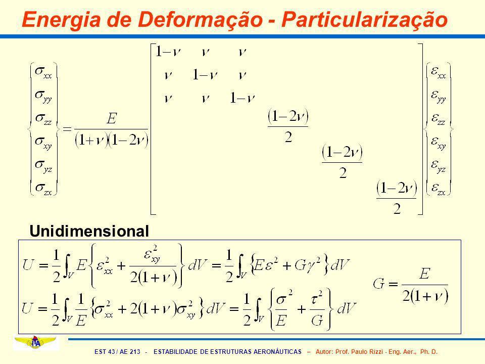 EST 43 / AE 213 - ESTABILIDADE DE ESTRUTURAS AERONÁUTICAS – Autor: Prof. Paulo Rizzi - Eng. Aer., Ph. D. Energia de Deformação - Particularização Unid
