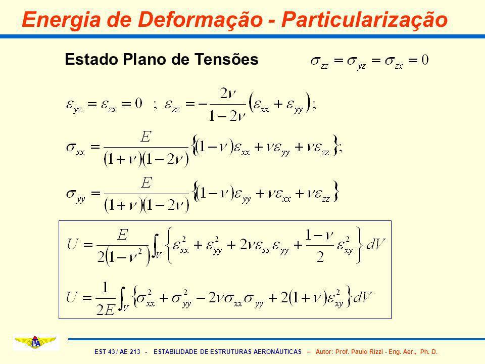 EST 43 / AE 213 - ESTABILIDADE DE ESTRUTURAS AERONÁUTICAS – Autor: Prof. Paulo Rizzi - Eng. Aer., Ph. D. Energia de Deformação - Particularização Esta