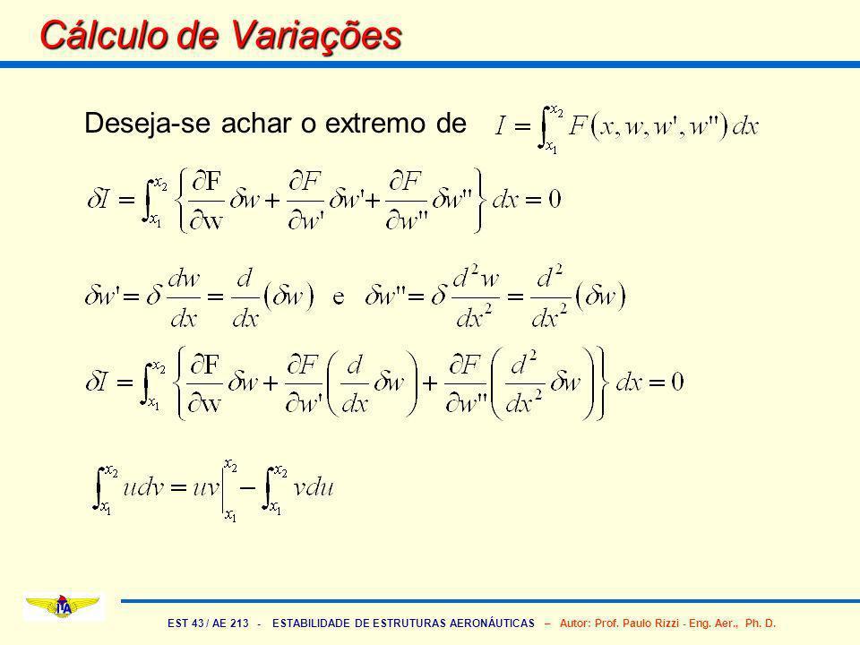EST 43 / AE 213 - ESTABILIDADE DE ESTRUTURAS AERONÁUTICAS – Autor: Prof. Paulo Rizzi - Eng. Aer., Ph. D. Cálculo de Variações Deseja-se achar o extrem