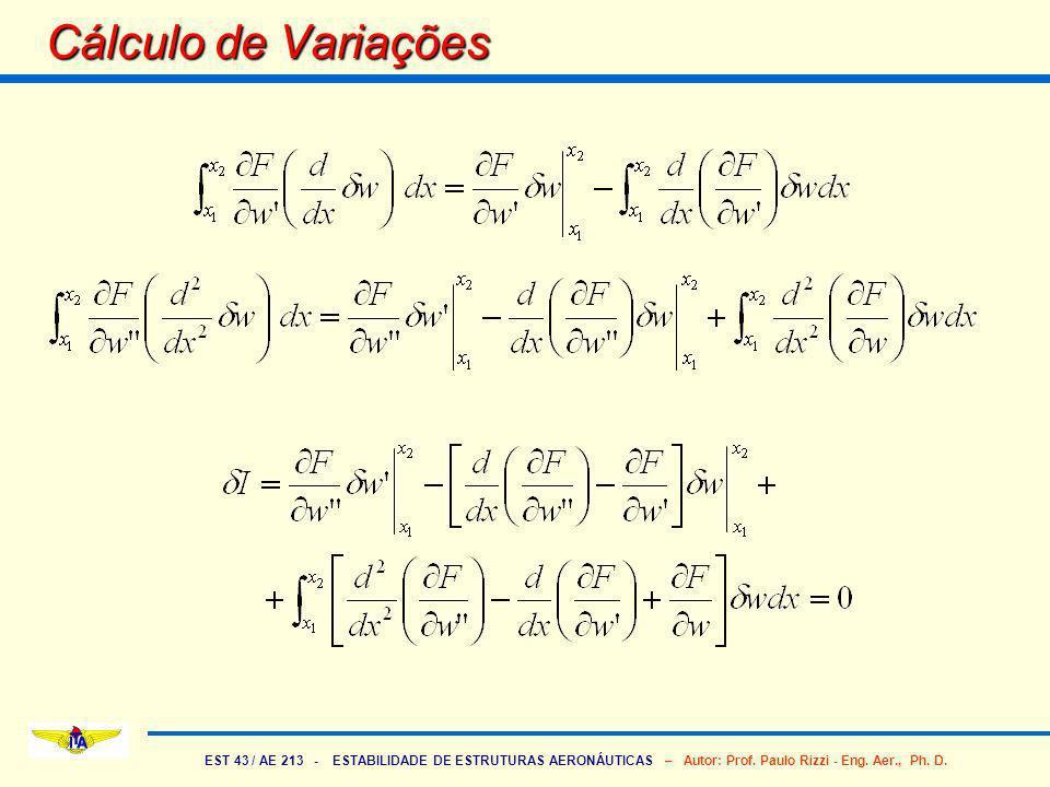 EST 43 / AE 213 - ESTABILIDADE DE ESTRUTURAS AERONÁUTICAS – Autor: Prof. Paulo Rizzi - Eng. Aer., Ph. D. Cálculo de Variações
