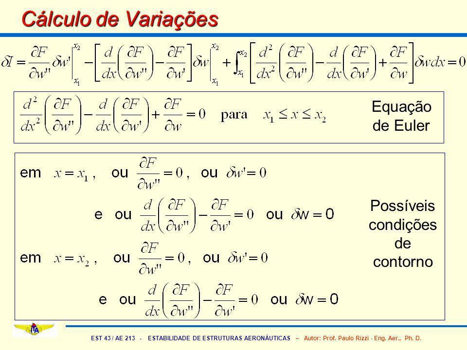 EST 43 / AE 213 - ESTABILIDADE DE ESTRUTURAS AERONÁUTICAS – Autor: Prof. Paulo Rizzi - Eng. Aer., Ph. D. Cálculo de Variações Equação de Euler Possíve