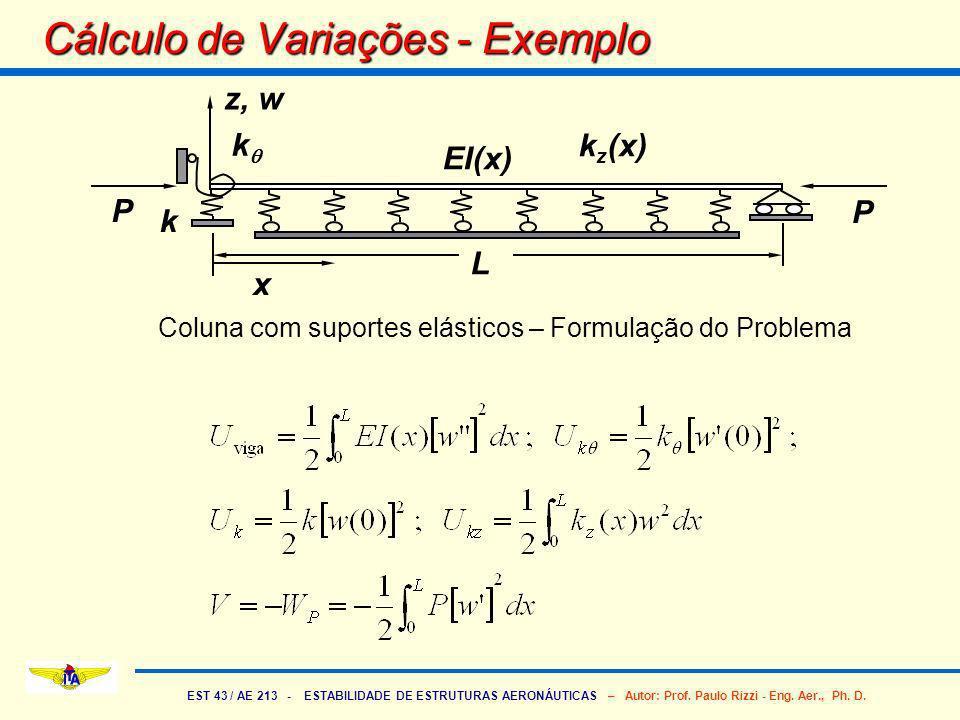 EST 43 / AE 213 - ESTABILIDADE DE ESTRUTURAS AERONÁUTICAS – Autor: Prof. Paulo Rizzi - Eng. Aer., Ph. D. Cálculo de Variações - Exemplo k k P x P EI(x