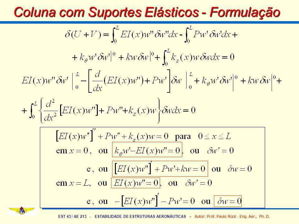EST 43 / AE 213 - ESTABILIDADE DE ESTRUTURAS AERONÁUTICAS – Autor: Prof. Paulo Rizzi - Eng. Aer., Ph. D. Coluna com Suportes Elásticos - Formulação