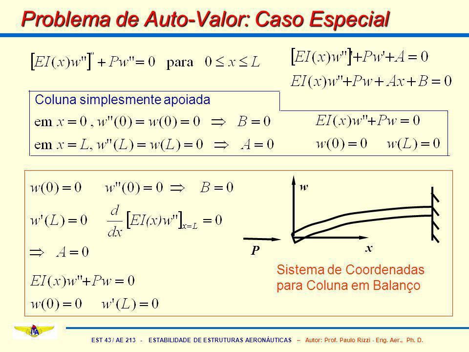 EST 43 / AE 213 - ESTABILIDADE DE ESTRUTURAS AERONÁUTICAS – Autor: Prof. Paulo Rizzi - Eng. Aer., Ph. D. Problema de Auto-Valor: Caso Especial Coluna