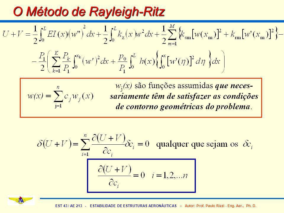 EST 43 / AE 213 - ESTABILIDADE DE ESTRUTURAS AERONÁUTICAS – Autor: Prof. Paulo Rizzi - Eng. Aer., Ph. D. O Método de Rayleigh-Ritz w j (x) são funções