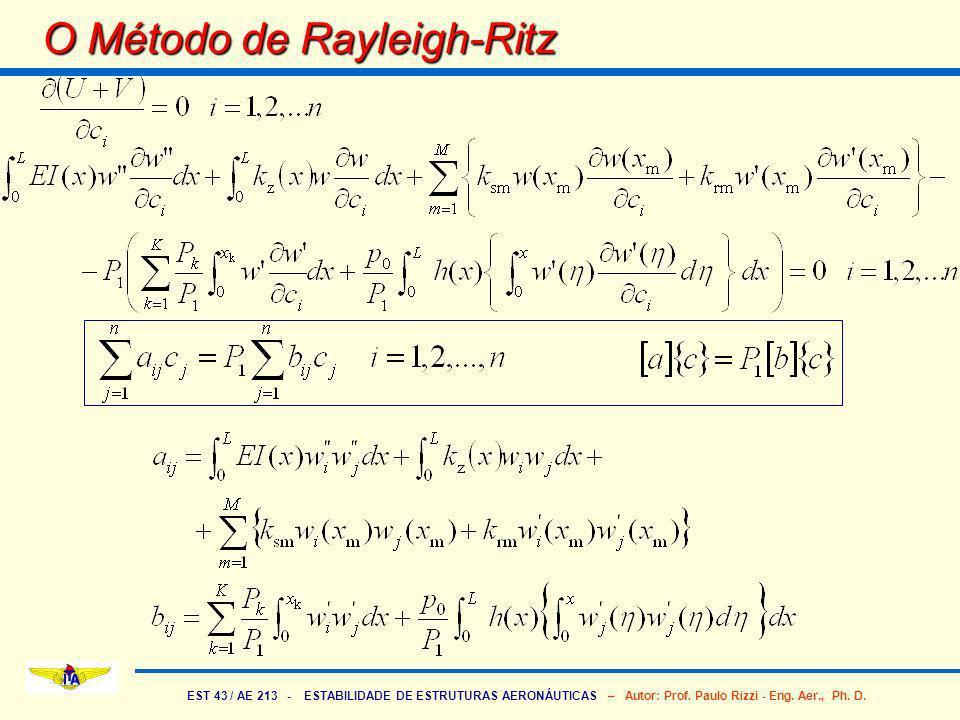 EST 43 / AE 213 - ESTABILIDADE DE ESTRUTURAS AERONÁUTICAS – Autor: Prof. Paulo Rizzi - Eng. Aer., Ph. D. O Método de Rayleigh-Ritz