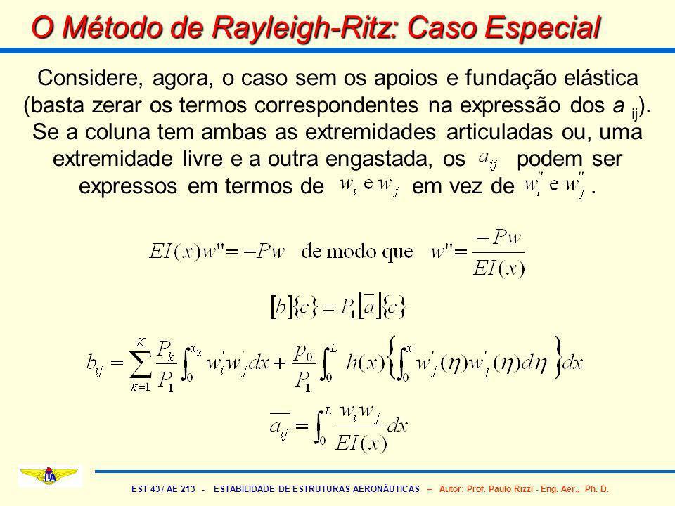 EST 43 / AE 213 - ESTABILIDADE DE ESTRUTURAS AERONÁUTICAS – Autor: Prof. Paulo Rizzi - Eng. Aer., Ph. D. O Método de Rayleigh-Ritz: Caso Especial Cons