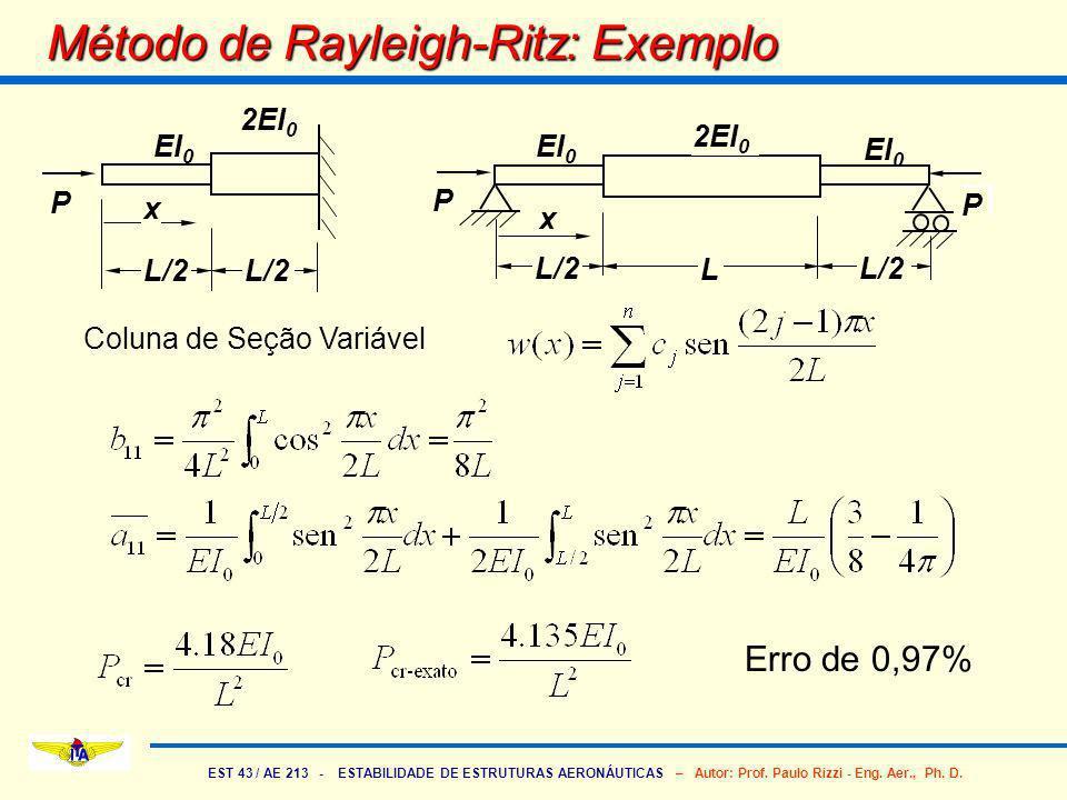EST 43 / AE 213 - ESTABILIDADE DE ESTRUTURAS AERONÁUTICAS – Autor: Prof. Paulo Rizzi - Eng. Aer., Ph. D. Método de Rayleigh-Ritz: Exemplo P L/2 L EI 0