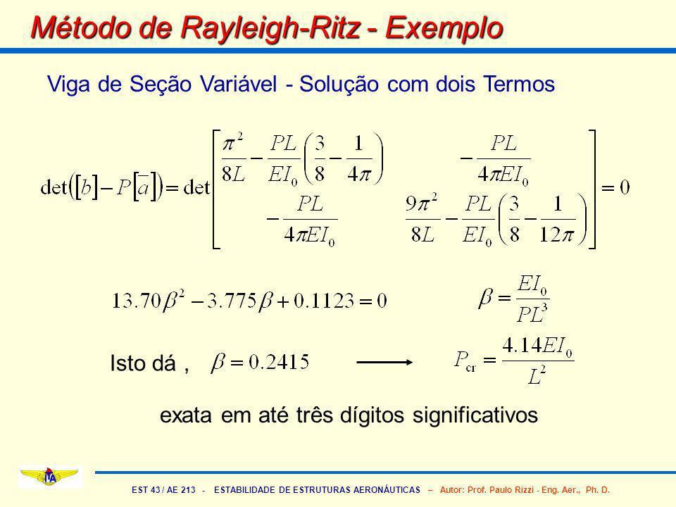 EST 43 / AE 213 - ESTABILIDADE DE ESTRUTURAS AERONÁUTICAS – Autor: Prof. Paulo Rizzi - Eng. Aer., Ph. D. Método de Rayleigh-Ritz - Exemplo Viga de Seç
