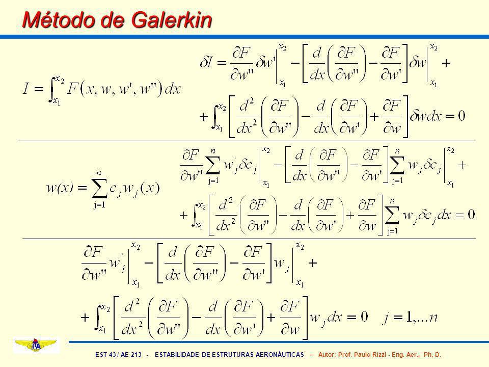 EST 43 / AE 213 - ESTABILIDADE DE ESTRUTURAS AERONÁUTICAS – Autor: Prof. Paulo Rizzi - Eng. Aer., Ph. D. Método de Galerkin