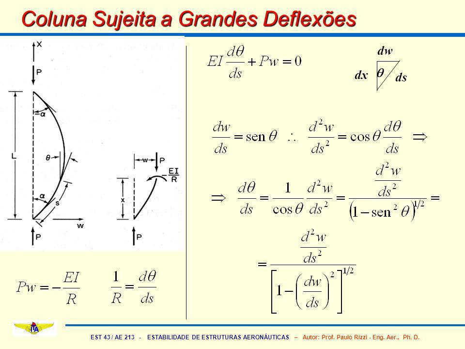 EST 43 / AE 213 - ESTABILIDADE DE ESTRUTURAS AERONÁUTICAS – Autor: Prof. Paulo Rizzi - Eng. Aer., Ph. D. Coluna Sujeita a Grandes Deflexões dw ds dx