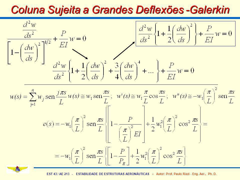 EST 43 / AE 213 - ESTABILIDADE DE ESTRUTURAS AERONÁUTICAS – Autor: Prof. Paulo Rizzi - Eng. Aer., Ph. D. Coluna Sujeita a Grandes Deflexões -Galerkin