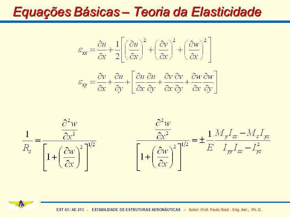 EST 43 / AE 213 - ESTABILIDADE DE ESTRUTURAS AERONÁUTICAS – Autor: Prof. Paulo Rizzi - Eng. Aer., Ph. D. Equações Básicas – Teoria da Elasticidade