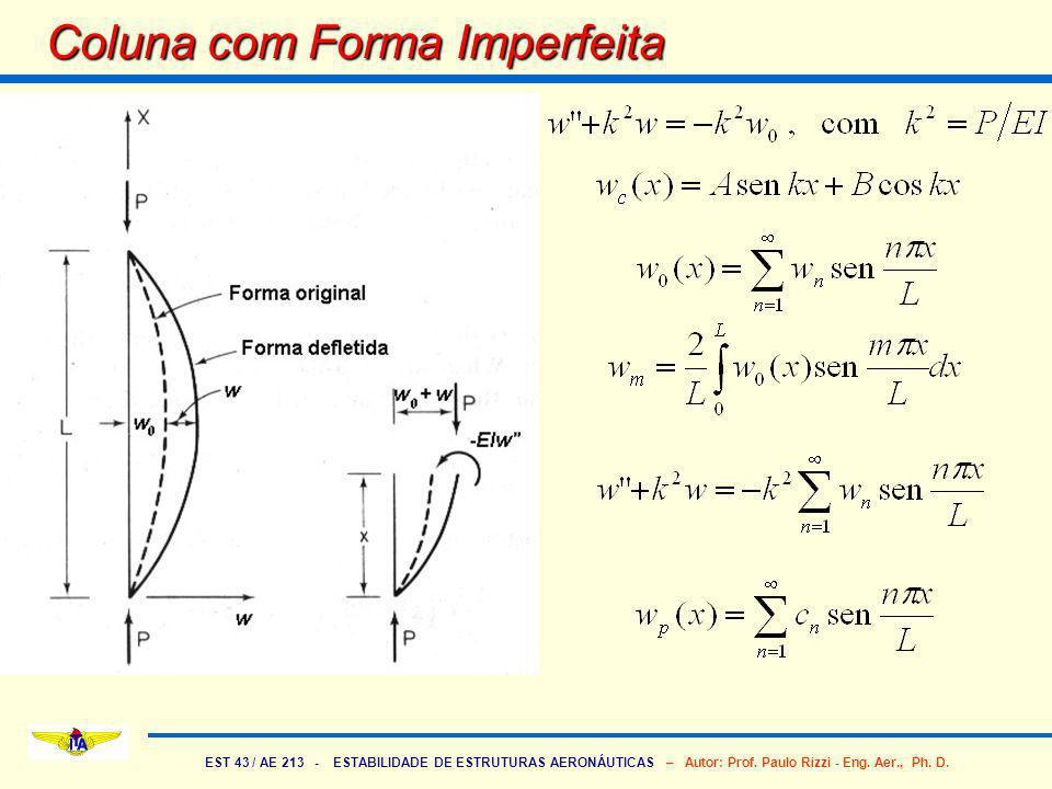 EST 43 / AE 213 - ESTABILIDADE DE ESTRUTURAS AERONÁUTICAS – Autor: Prof. Paulo Rizzi - Eng. Aer., Ph. D. Coluna com Forma Imperfeita