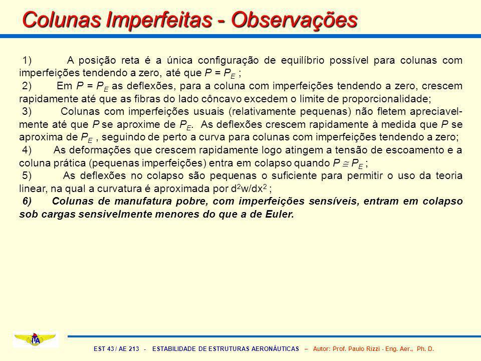 EST 43 / AE 213 - ESTABILIDADE DE ESTRUTURAS AERONÁUTICAS – Autor: Prof. Paulo Rizzi - Eng. Aer., Ph. D. Colunas Imperfeitas - Observações 1) A posiçã