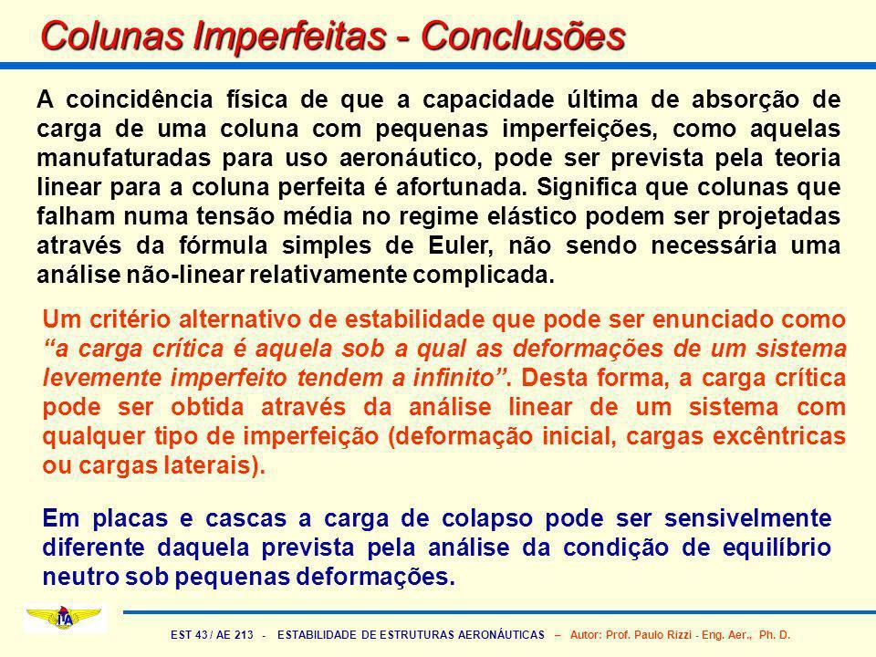 EST 43 / AE 213 - ESTABILIDADE DE ESTRUTURAS AERONÁUTICAS – Autor: Prof. Paulo Rizzi - Eng. Aer., Ph. D. Colunas Imperfeitas - Conclusões A coincidênc
