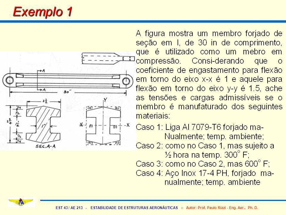 EST 43 / AE 213 - ESTABILIDADE DE ESTRUTURAS AERONÁUTICAS – Autor: Prof. Paulo Rizzi - Eng. Aer., Ph. D. Exemplo 1