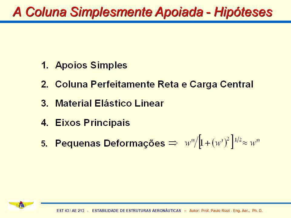 EST 43 / AE 213 - ESTABILIDADE DE ESTRUTURAS AERONÁUTICAS – Autor: Prof. Paulo Rizzi - Eng. Aer., Ph. D. A Coluna Simplesmente Apoiada - Hipóteses