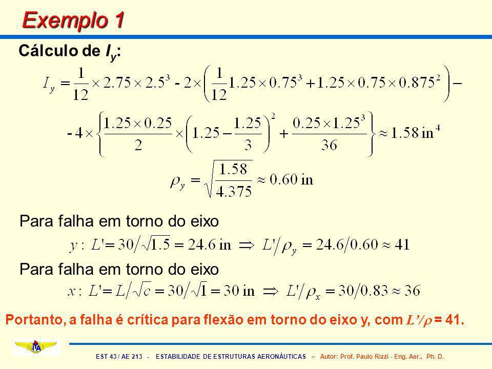 EST 43 / AE 213 - ESTABILIDADE DE ESTRUTURAS AERONÁUTICAS – Autor: Prof. Paulo Rizzi - Eng. Aer., Ph. D. Exemplo 1 Cálculo de I y : Para falha em torn