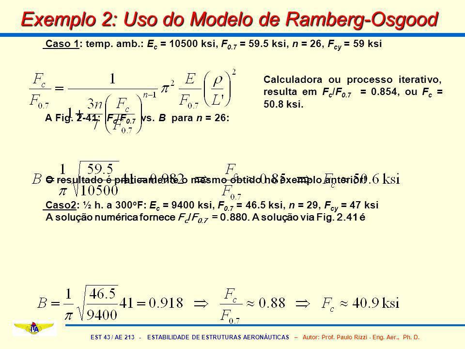 EST 43 / AE 213 - ESTABILIDADE DE ESTRUTURAS AERONÁUTICAS – Autor: Prof. Paulo Rizzi - Eng. Aer., Ph. D. Exemplo 2: Uso do Modelo de Ramberg-Osgood Ca