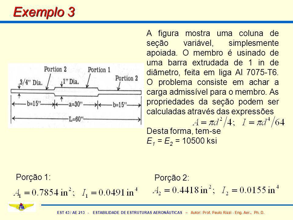 EST 43 / AE 213 - ESTABILIDADE DE ESTRUTURAS AERONÁUTICAS – Autor: Prof. Paulo Rizzi - Eng. Aer., Ph. D. Exemplo 3 A figura mostra uma coluna de seção