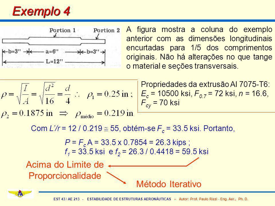 EST 43 / AE 213 - ESTABILIDADE DE ESTRUTURAS AERONÁUTICAS – Autor: Prof. Paulo Rizzi - Eng. Aer., Ph. D. Exemplo 4 A figura mostra a coluna do exemplo