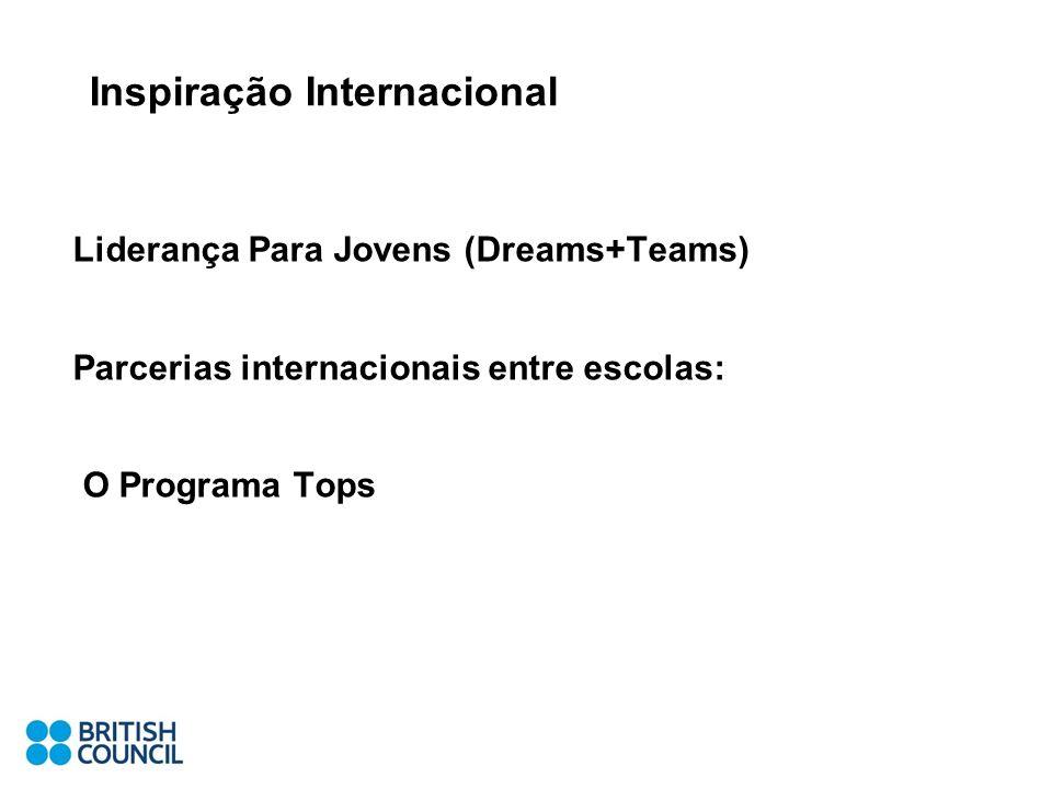 Inspiração Internacional Liderança Para Jovens (Dreams+Teams) Parcerias internacionais entre escolas: O Programa Tops