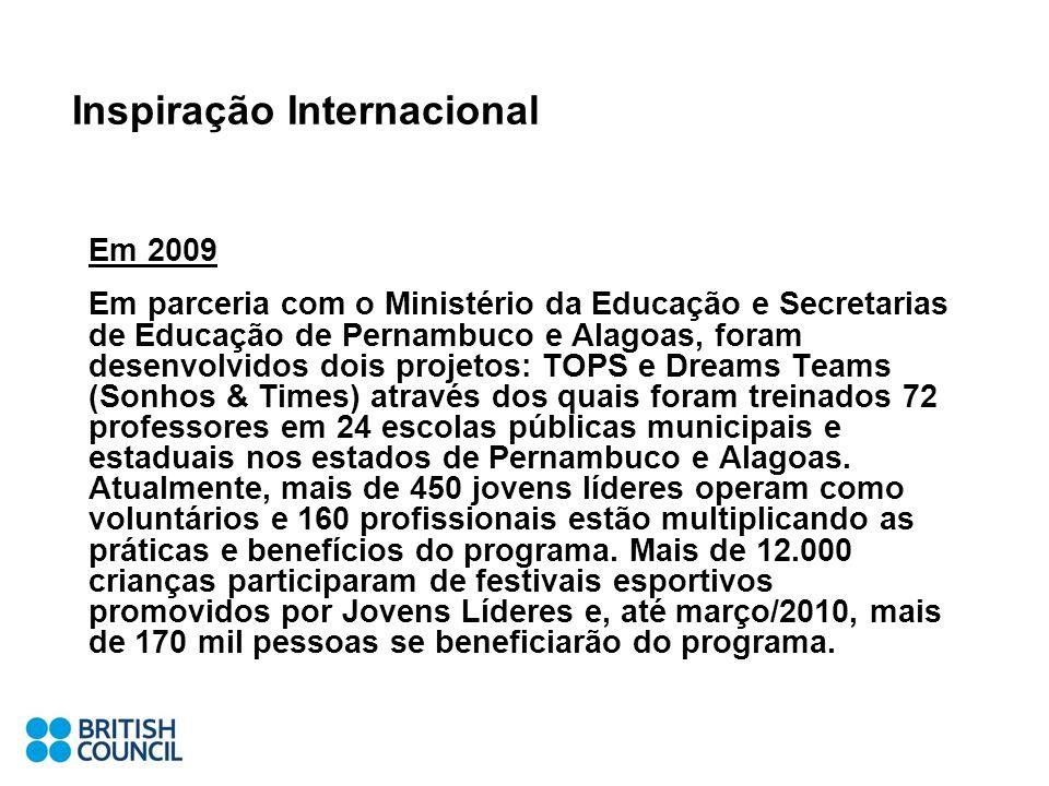 Inspiração Internacional Em 2009 Em parceria com o Ministério da Educação e Secretarias de Educação de Pernambuco e Alagoas, foram desenvolvidos dois