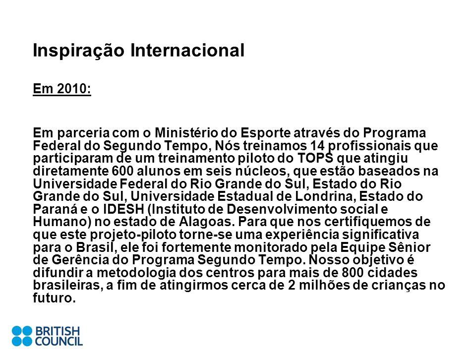 Inspiração Internacional Em 2010: Em parceria com o Ministério do Esporte através do Programa Federal do Segundo Tempo, Nós treinamos 14 profissionais