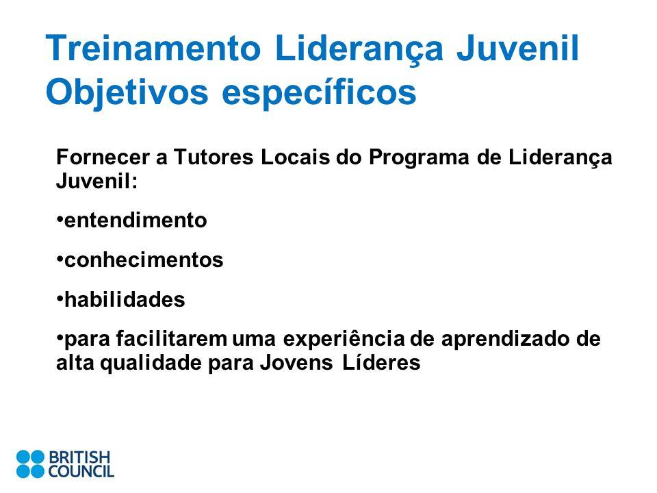 Treinamento Liderança Juvenil Objetivos específicos Fornecer a Tutores Locais do Programa de Liderança Juvenil: entendimento conhecimentos habilidades