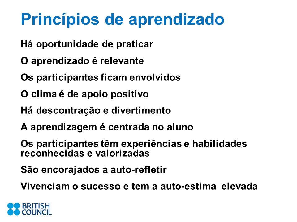 Princípios de aprendizado Há oportunidade de praticar O aprendizado é relevante Os participantes ficam envolvidos O clima é de apoio positivo Há desco