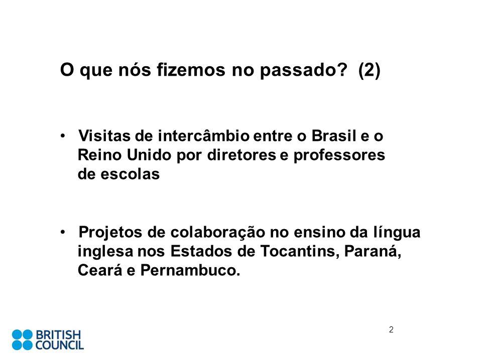 O que nós fizemos no passado? (2) Visitas de intercâmbio entre o Brasil e o Reino Unido por diretores e professores de escolas Projetos de colaboração