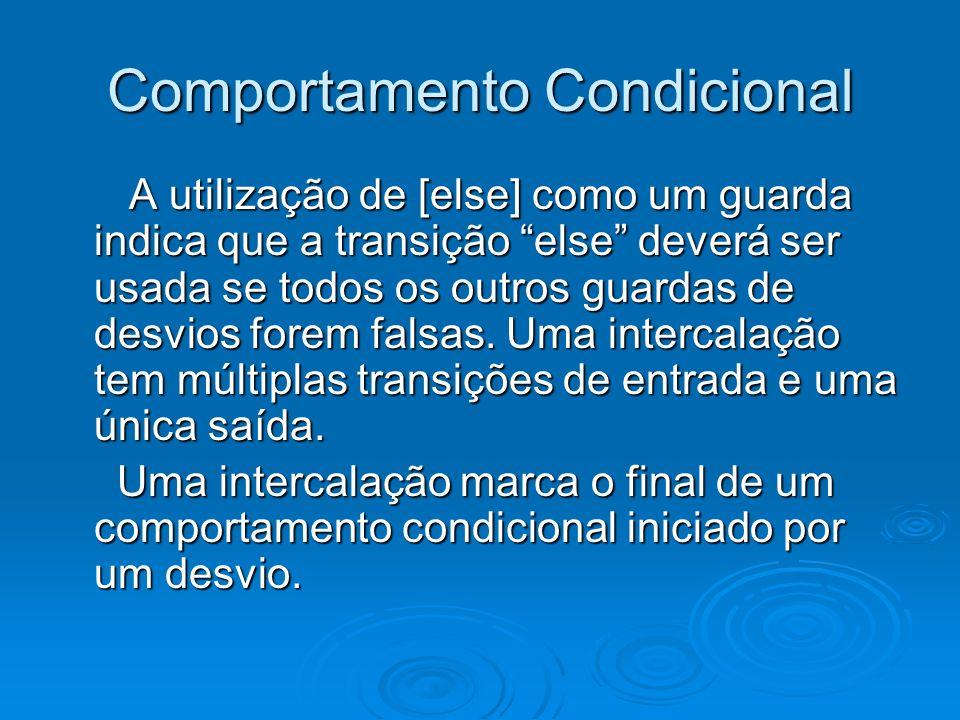 Comportamento Condicional A utilização de [else] como um guarda indica que a transição else deverá ser usada se todos os outros guardas de desvios for