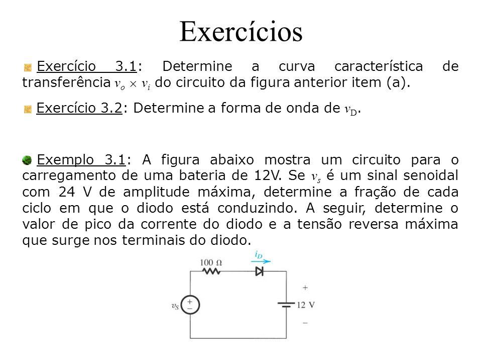 Exercícios Exercício 3.1: Determine a curva característica de transferência v o v i do circuito da figura anterior item (a). Exercício 3.2: Determine