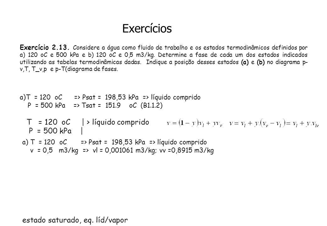Exercícios Exercício 2.13. Considere a água como fluido de trabalho e os estados termodinâmicos definidos por a) 120 oC e 500 kPa e b) 120 oC e 0,5 m3